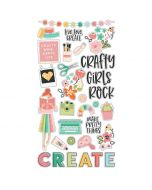 "Hey, Crafty Girl 6"" x 12"" Chipboard Stickers - Simple Stories"