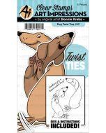 Art Impression Twisted Dog Stamp & Die Set