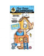 Art Impressions Cozy Cat Cubbies Stamp & Die Set