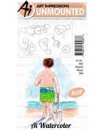 Art Impressions Beach Boys Watercolor Stamp Set