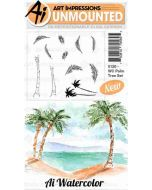 Art Impressions Palm Tree Watercolor stamp set