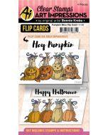 Pumpkin Mice Flip Card Stamps - Art Impressions