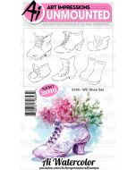 Shoe Set Watercolor Cling Cushion Rubber Stamps - Art Impressions