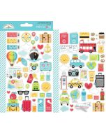 I Heart Travel Mini Icons Stickers - Doodlebug Design
