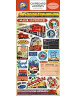 "Carta Bella All Aboard 6""x 13"" Chipboard Accent Sticker pack designed by Steven Duncan"