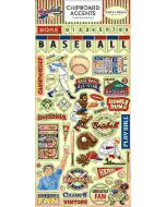 """Baseball 6"""" x 13"""" Chipboard Accents Stickers"""