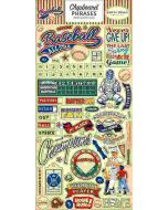 """Baseball 6"""" x 13"""" Chipboard Phrases Stickers"""