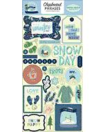 "Snow Much Fun 6"" x 13"" Chipboard Phrase Stickers - Carta Bella"