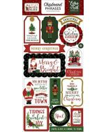 "Here Comes Santa Claus 6"" x 13"" Chipboard Phrase Stickers - Echo Park"