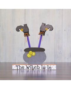Witch in Cauldron Unfinished Wood Craft - Halloween - Foundations Decor
