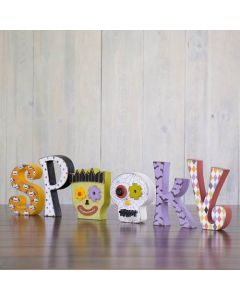 Spooky w/ Skull and Frankenstein Unfinished Wood Craft - Halloween - Foundations Decor