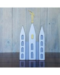 Large Temple w/ Statue Unfinished Wood Craft - Family - Foundations Decor