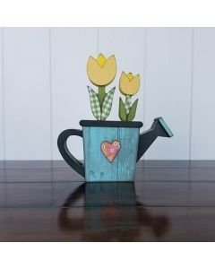 Watering Can w/ Flowers Unfinished Wood Craft - Spring - Foundations Decor