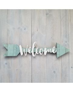 Large Welcome Script Font Unfinished Wood Craft - Connected Words - Foundations Decor*