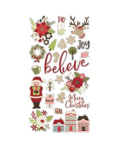 """Holly Jolly 6"""" x 12"""" Chipboard Stickers - Simple Stories"""