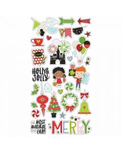 """Say Cheese Christmas 6"""" x 12"""" Chipboard Stickers - Simple Stories"""