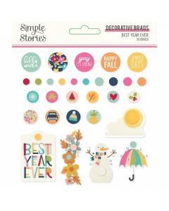 Best Year Ever Decorative Brads - Simple Stories*
