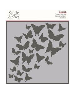 "Butterflies 6"" x 6"" Stencil - Simple Vintage Garden District - Simple Stories*"