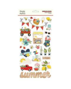Summer Farmhouse Chipboard Stickers - Simple Stories
