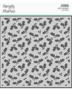 Holly Berries Stencil - Simple Vintage North Pole - Simple Stories