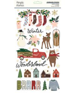 Winter Cottage Chipboard Stickers - Simple Stories