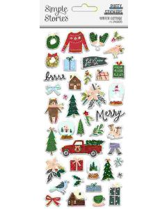Winter Cottage Puffy Stickers - Simple Stories