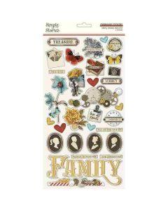 Simple Vintage Ancestry Chipboard Stickers - Simple Stories*