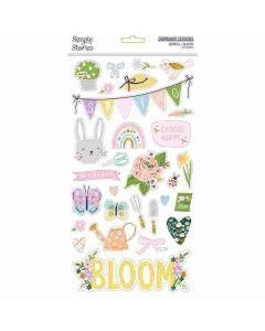 Bunnies + Blooms Chipboard Stickers - Simple Stories*