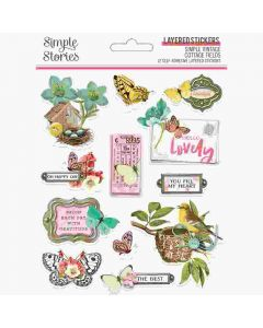 Simple Vintage Cottage Fields Layered Stickers - Simple Stories
