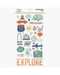 Safe Travels Chipboard Stickers - Simple Stories
