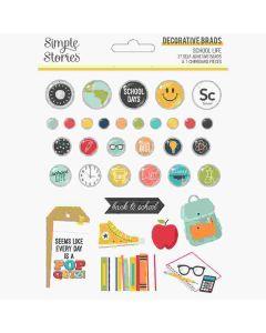 School Life Decorative Brads - Simple Stories*