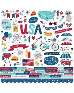 Stars, Stripes + Sparklers Cardstock Stickers - Simple Stories