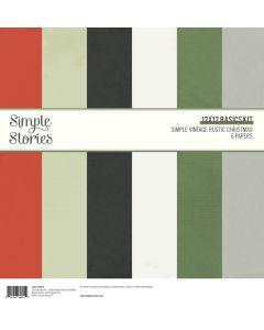 """Simple Vintage Rustic Christmas 12"""" x 12"""" Basics Kit - Simple Stories"""