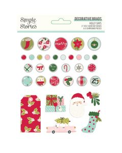 Holly Days Decorative Brads - Simple Stories