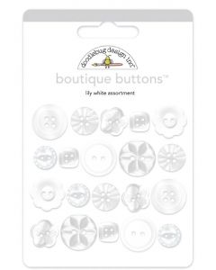 Lily White Boutique Buttons - Monochromatic - Doodlebug