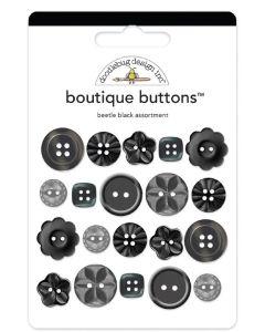 Beetle Black Boutique Buttons - Monochromatic - Doodlebug