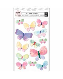 Bloom Street Dimensional Butterflies Stickers - Paige Evans - Pink Paislee*