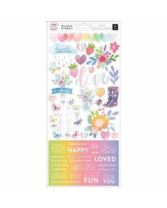 Bloom Street Cardstock Stickers - Paige Evans - Pink Paislee*