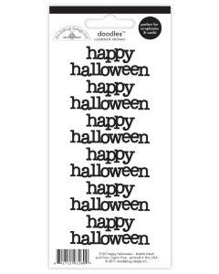 Beetle Black Happy Halloween Doodles Cardstock Stickers - Create-A-Card - Doodlebug