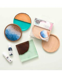 Wood Tray Coasters - Color Pour Resin - American Crafts