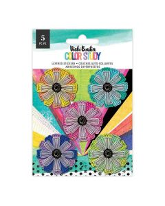 Layered Flower Stickers - Color Study - American Crafts