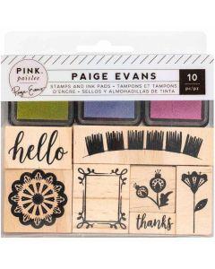 Horizon Wooden Stamps & Ink Pads - Pink Paislee