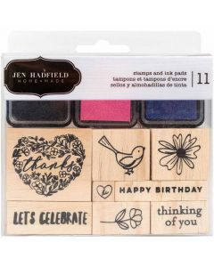 Hey, Hello Wooden Stamps & Ink Pads - Jen Hadfield - Pebbles