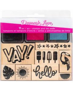 Wild Card Wooden Stamps & Ink Pads - Damask Love - American Crafts