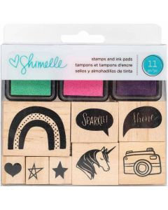 Glitter Girl Wooden Stamps & Ink Pads - Shimelle