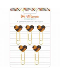 Heart Paperclips, Tortoise Shell - Late Afternoon - American Crafts*
