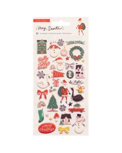 Hey, Santa Puffy Stickers - Crate Paper*