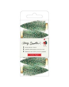 Gold Glitter Wire Brush Trees - Hey, Santa - Crate Paper*