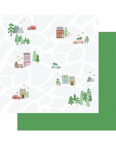 """Christmas Map 12"""" x 12"""" Paper - Wishmas - Jodi Sanford - Fancy Pants Designs"""