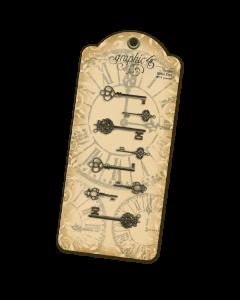 Antique Brass Ornate Metal Keys - Graphic 45